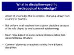 what is discipline specific pedagogical knowledge11