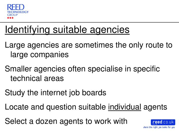 Identifying suitable agencies