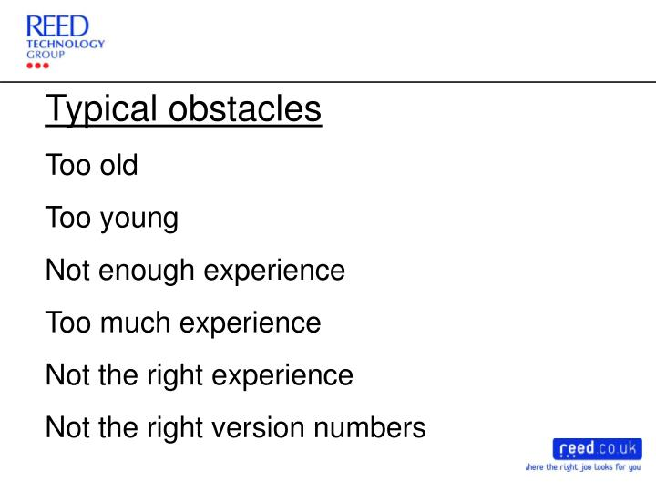 Typical obstacles