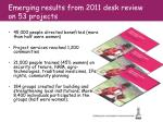 emerging results from 2011 desk review on 53 projects