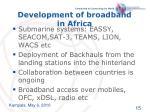 development of broadband in africa