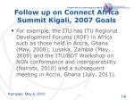 follow up on connect africa summit kigali 2007 goals