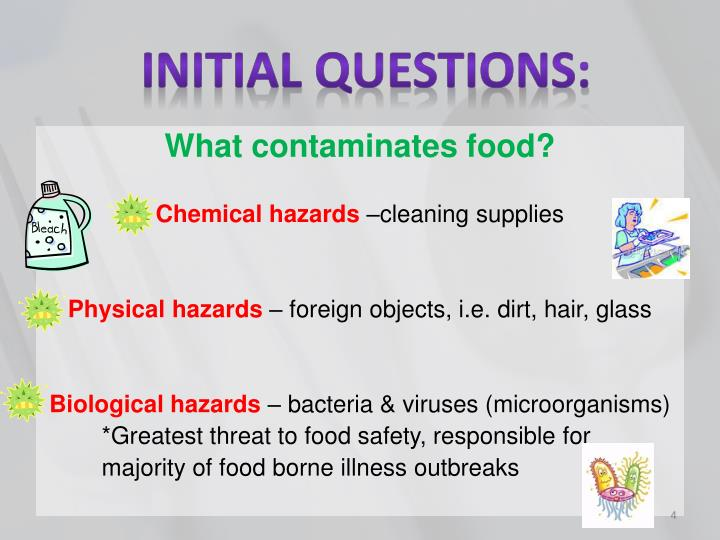 the chemical contamination of food Food can be contaminated, naturally or by human activity, at any stage of the food chain the level of contamination can vary widely and may not necessarily.