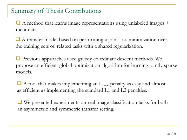 Summary of Thesis Contributions