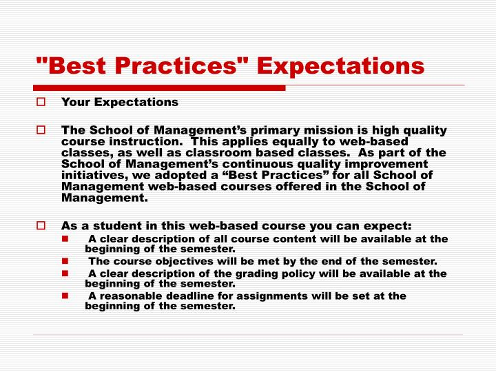 """""""Best Practices"""" Expectations"""