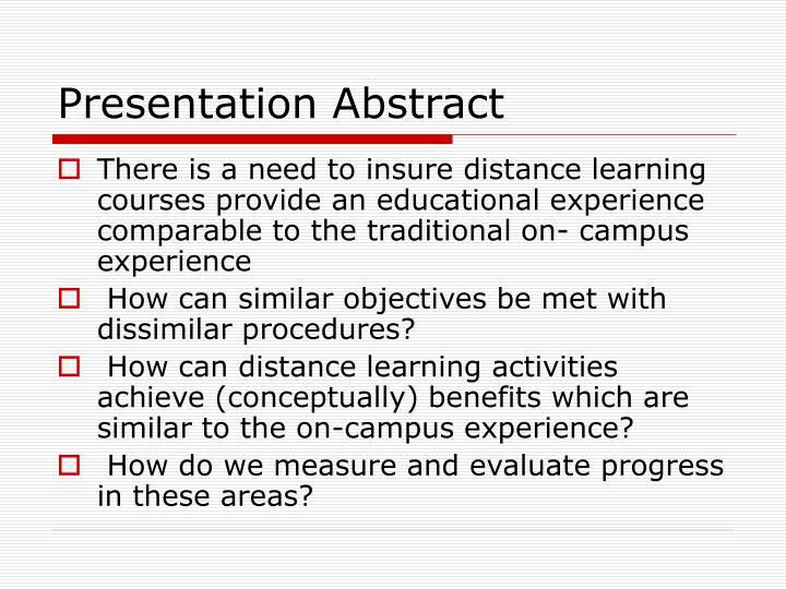 Presentation Abstract