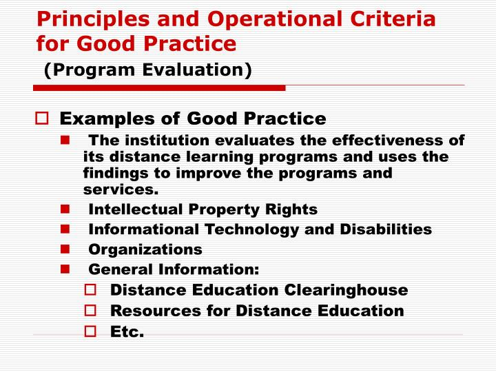 Principles and Operational Criteria for Good Practice