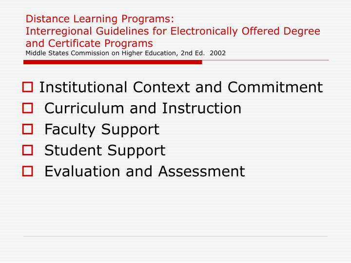 Distance Learning Programs: