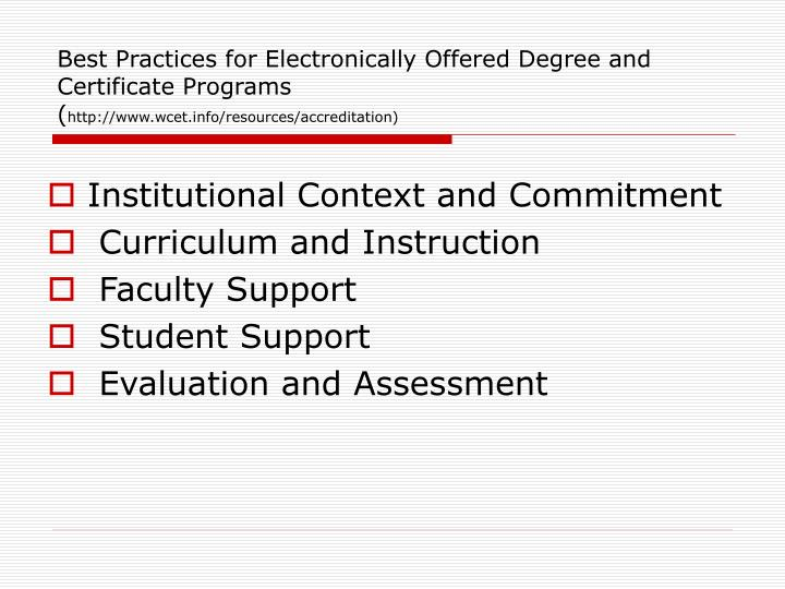Best Practices for Electronically Offered Degree and Certificate Programs
