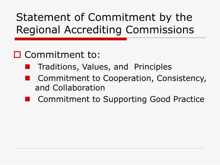 Statement of Commitment by the Regional Accrediting Commissions