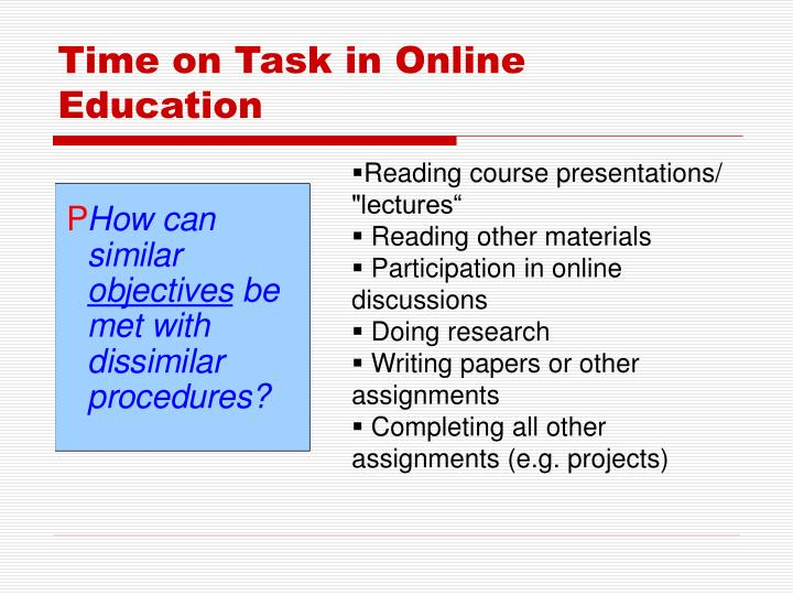 Time on Task in Online Education