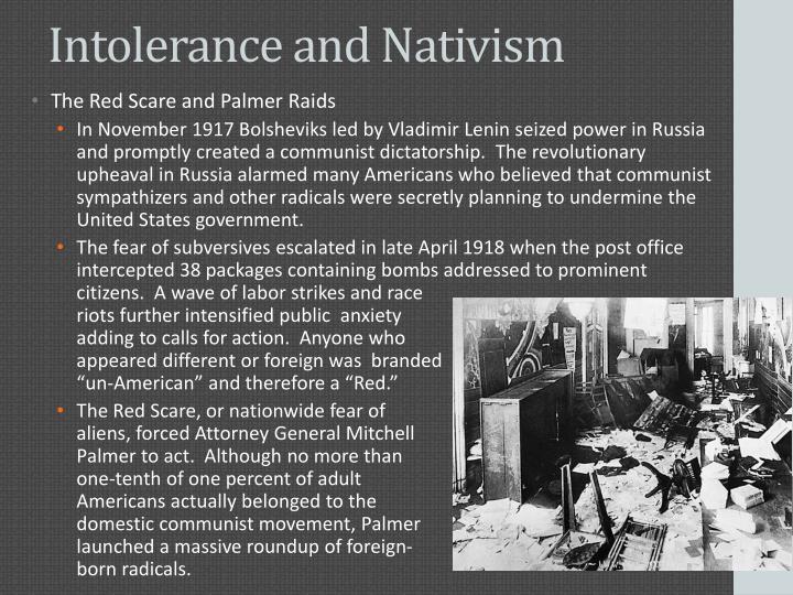 Intolerance and Nativism