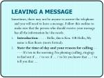 leaving a message