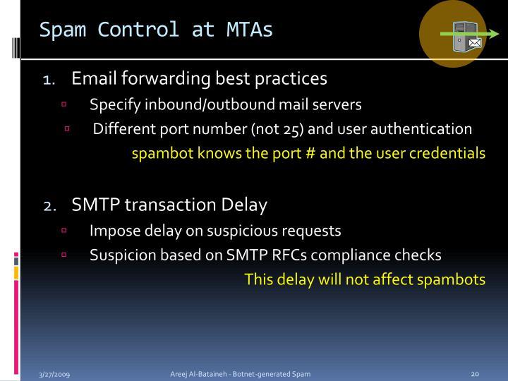 Spam Control at MTAs