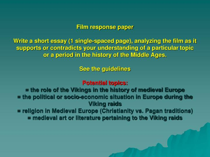 Film response paper