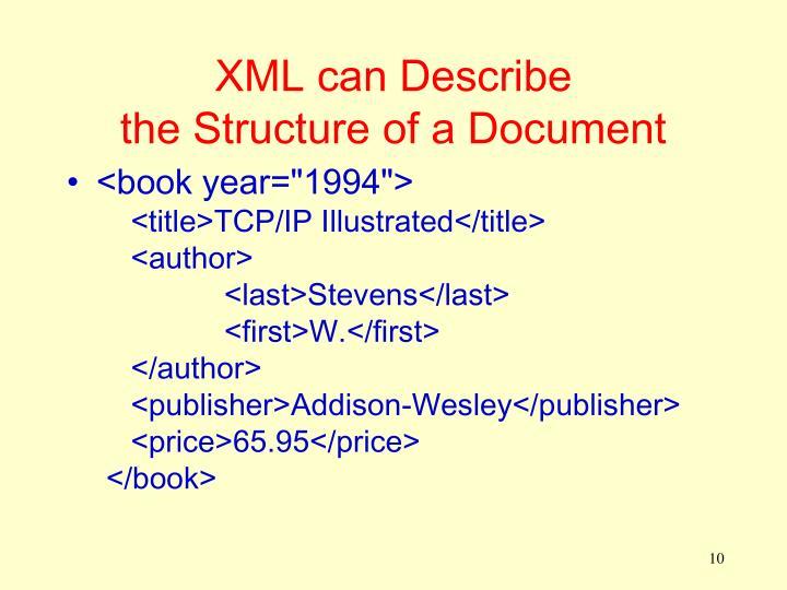 XML can Describe