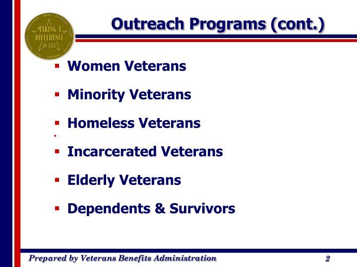 Outreach programs cont