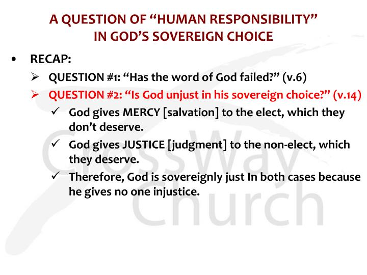"A QUESTION OF ""HUMAN RESPONSIBILITY"""