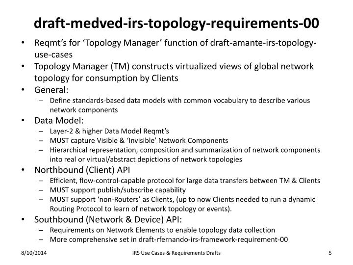draft-medved-irs-topology-requirements-00