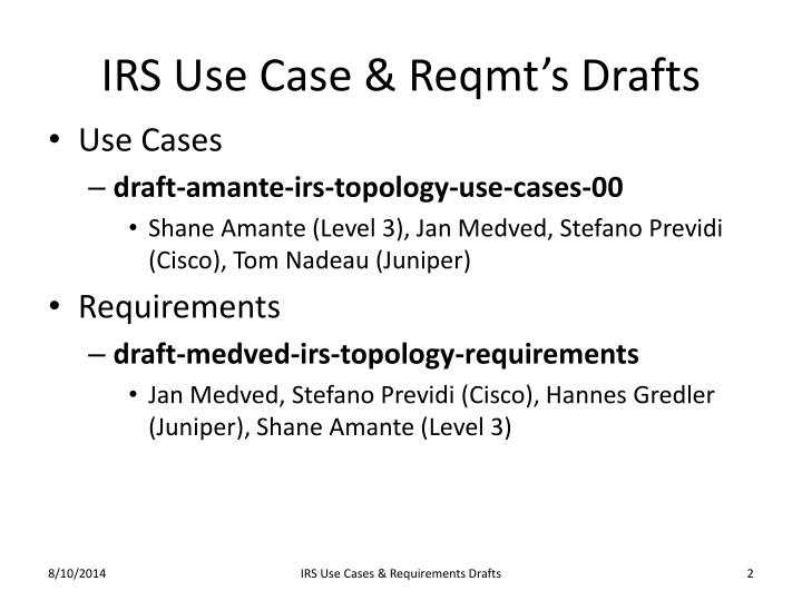 Irs use case reqmt s drafts