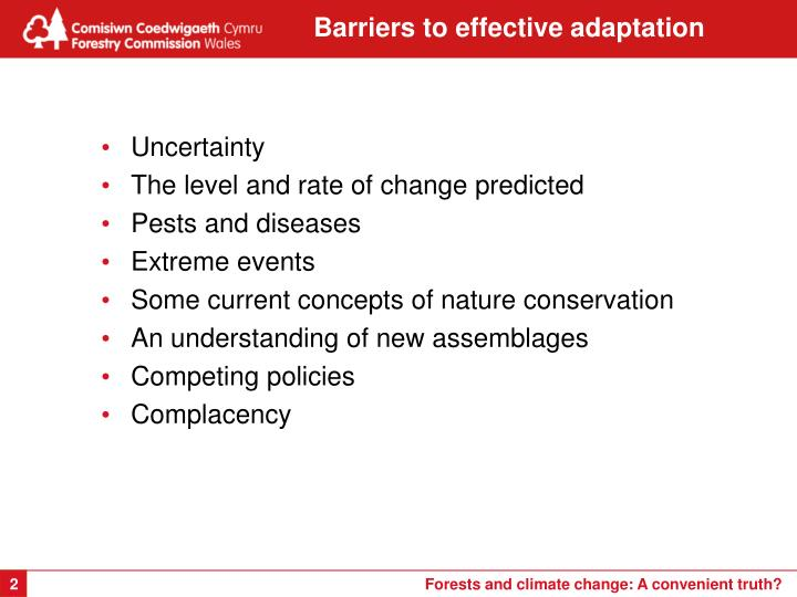 Barriers to effective adaptation