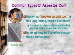 common types of asbestos cont