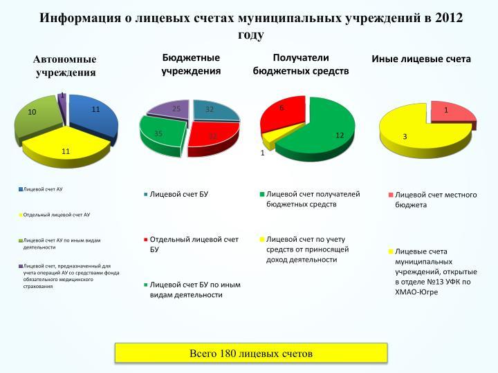 Информация о лицевых счетах муниципальных учреждений в 2012 году