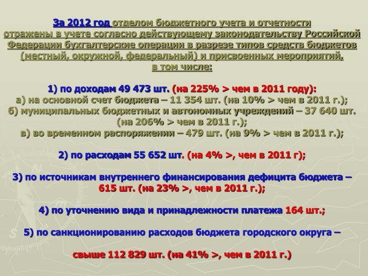 За 2012 год