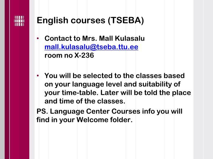 English courses (TSEBA)