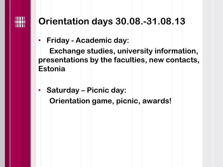 Orientation days