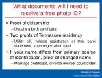 what documents will i need to receive a free photo id