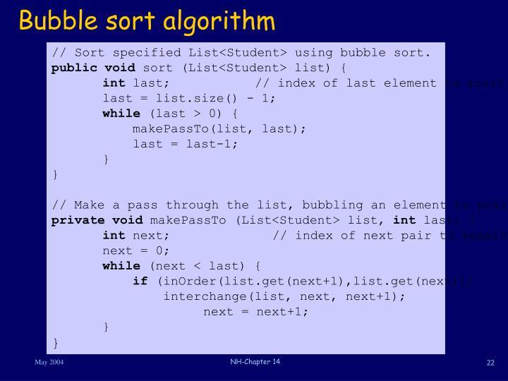 Bubble sort algorithm