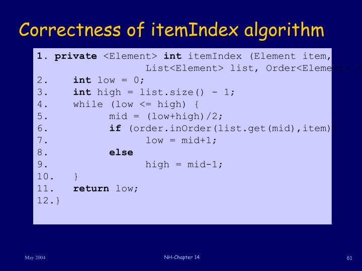 Correctness of itemIndex algorithm