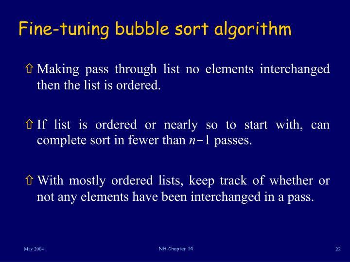 Fine-tuning bubble sort algorithm