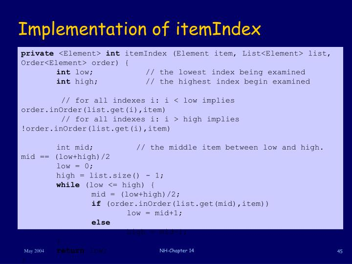 Implementation of itemIndex