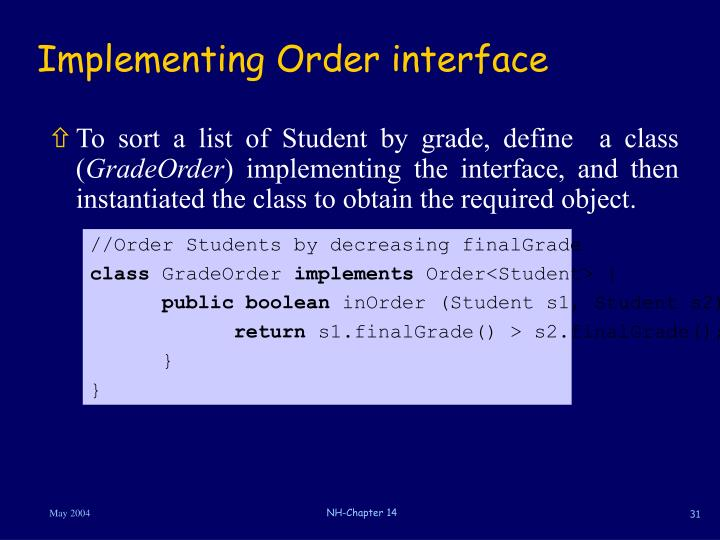 Implementing Order interface