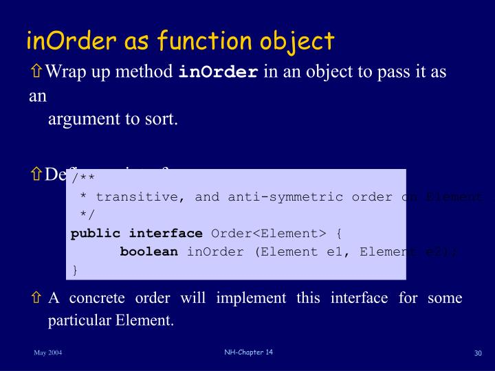inOrder as function object
