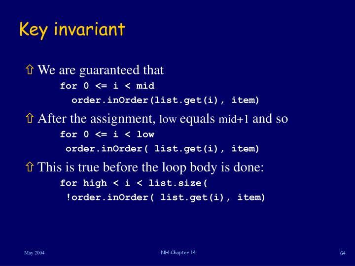 Key invariant