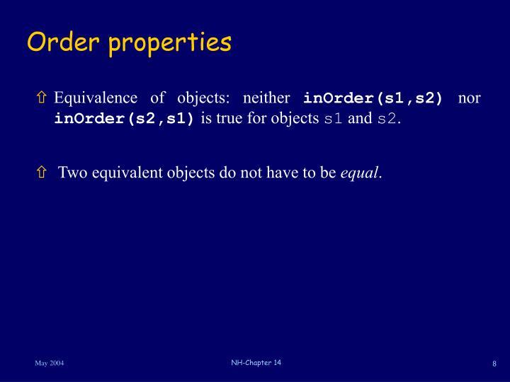 Order properties