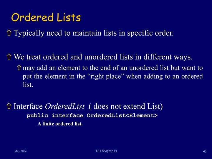 Ordered Lists