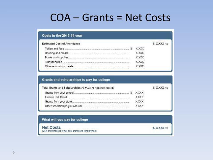 COA – Grants = Net Costs