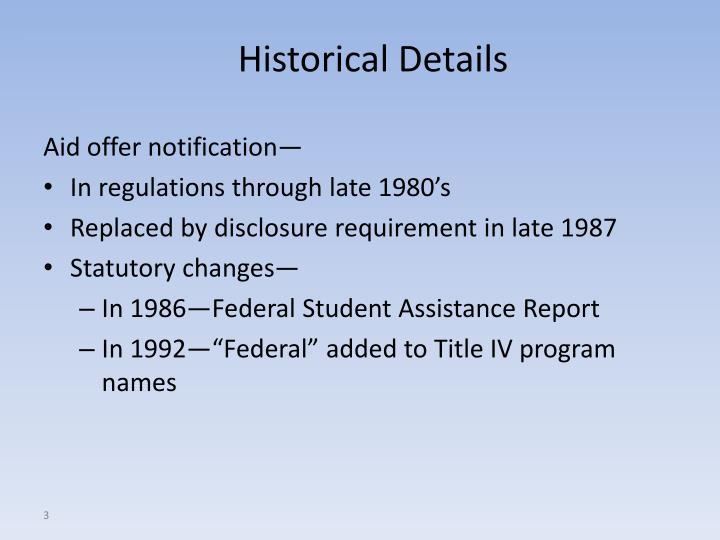 Historical details