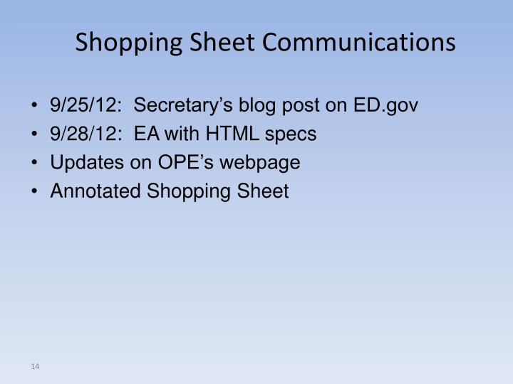 Shopping Sheet Communications