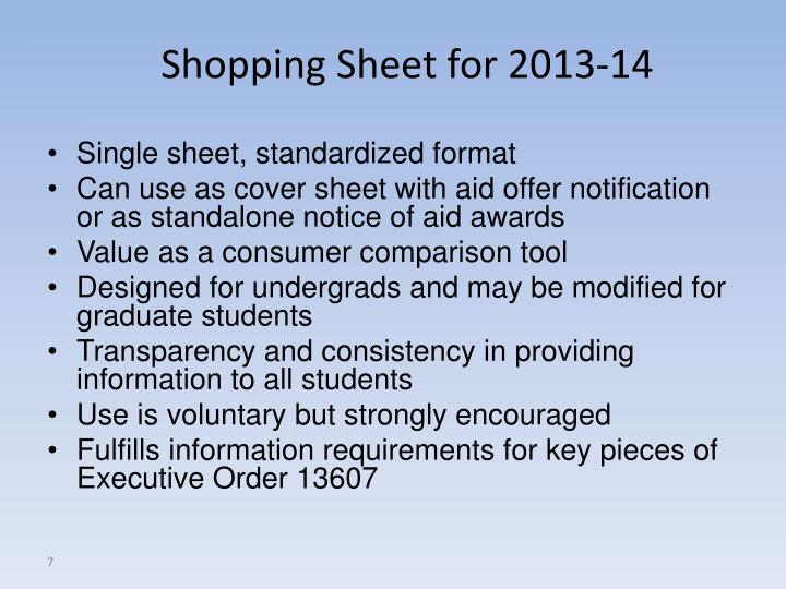 Shopping Sheet for 2013-14