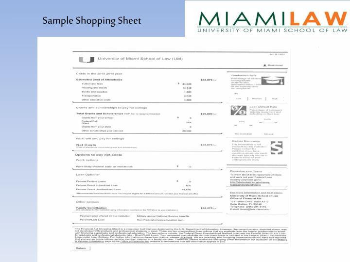 Sample Shopping Sheet
