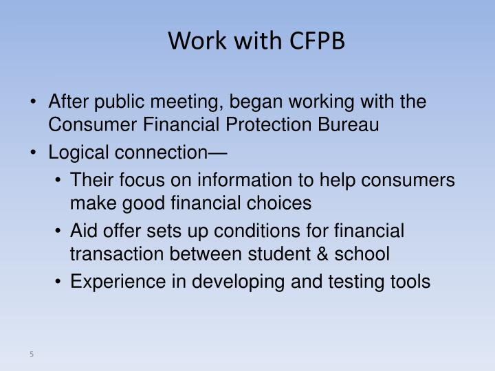Work with CFPB