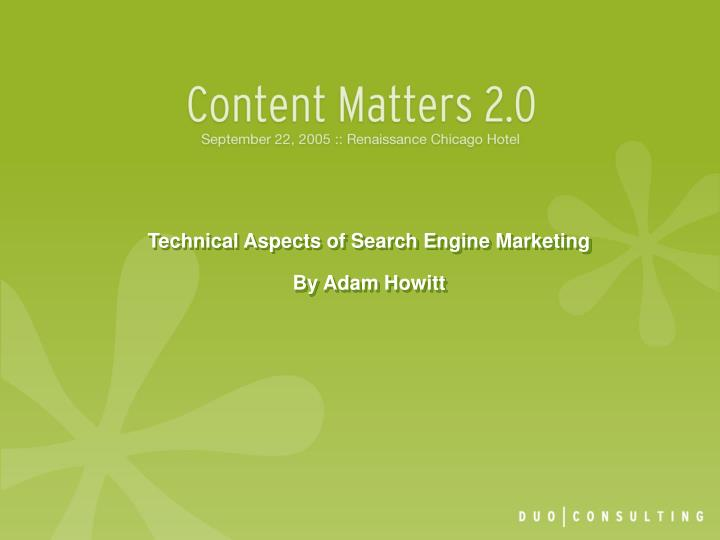 technical aspects of search engine marketing by adam howitt n.