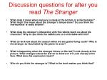 discussion questions for after you read the stranger