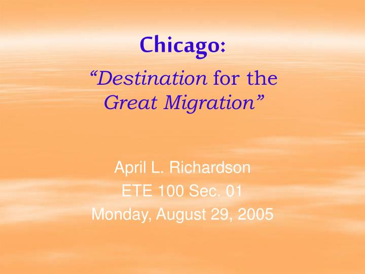 chicago destination for the great migration n.