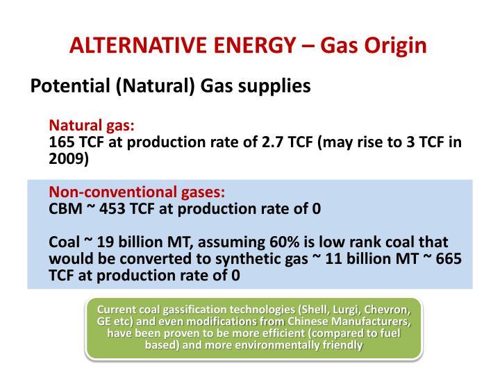 ALTERNATIVE ENERGY – Gas Origin
